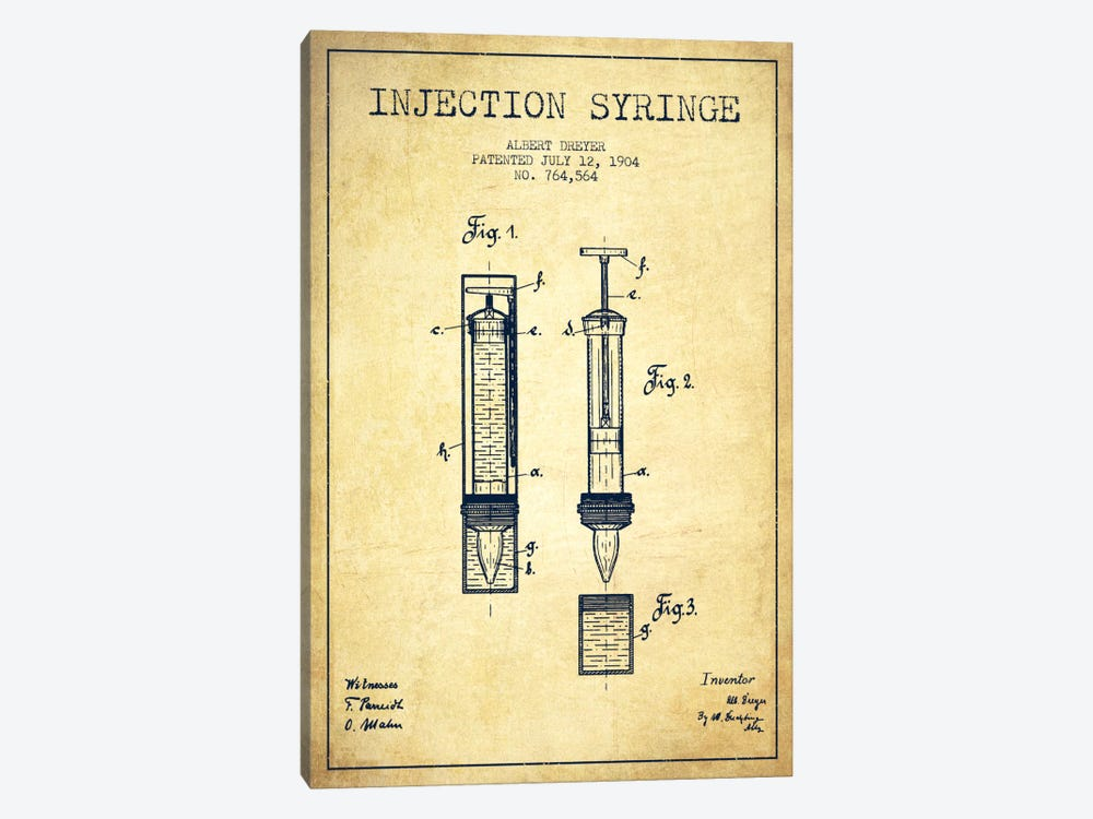 Injection Syringe Vintage Patent Blueprint by Aged Pixel 1-piece Canvas Artwork