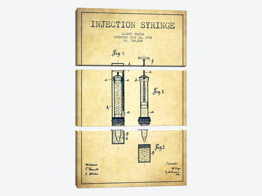 Injection Syringe Vintage Patent Blueprint by Aged Pixel 3-piece Canvas Artwork