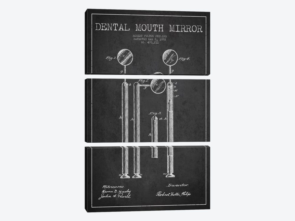 Mouth Mirror Charcoal Patent Blueprint 3-piece Art Print