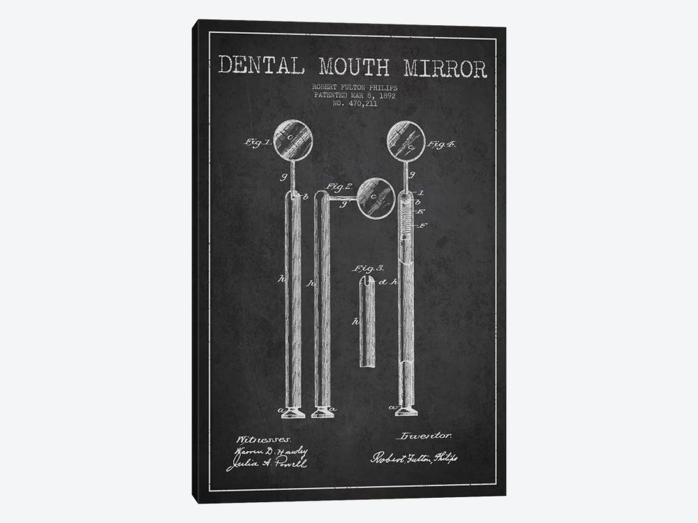 Mouth Mirror Charcoal Patent Blueprint by Aged Pixel 1-piece Art Print