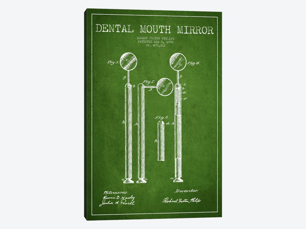 Mouth Mirror Green Patent Blueprint by Aged Pixel 1-piece Canvas Art