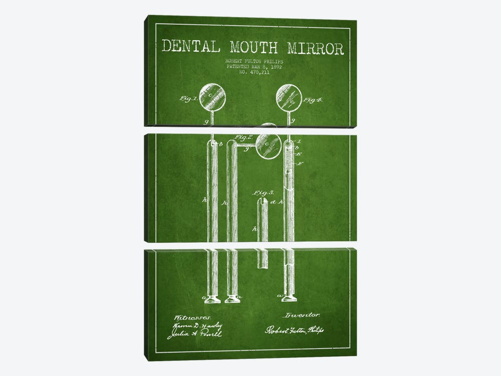 Mouth Mirror Green Patent Blueprint by Aged Pixel 3-piece Canvas Wall Art