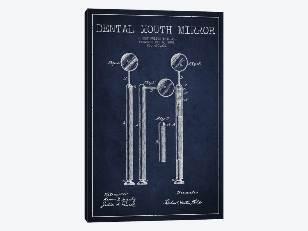 Mouth Mirror Navy Blue Patent Blueprint by Aged Pixel 1-piece Canvas Art Print