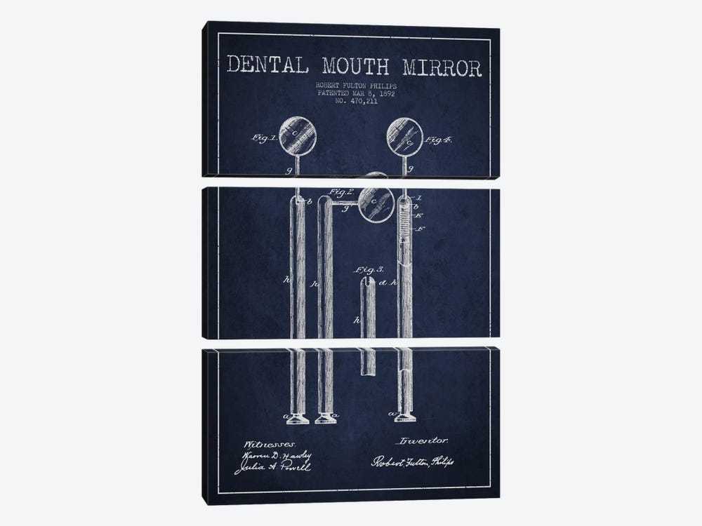 Mouth Mirror Navy Blue Patent Blueprint by Aged Pixel 3-piece Canvas Art Print