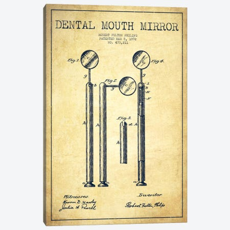 Mouth Mirror Vintage Patent Blueprint Canvas Print #ADP1848} by Aged Pixel Canvas Wall Art