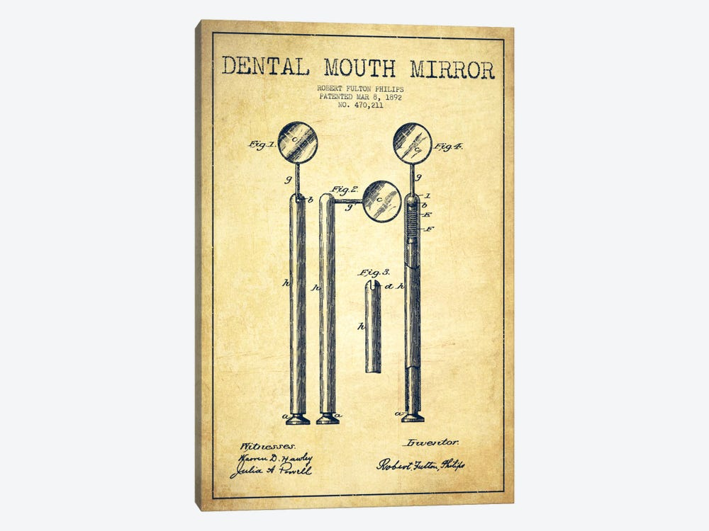 Mouth Mirror Vintage Patent Blueprint by Aged Pixel 1-piece Canvas Art Print