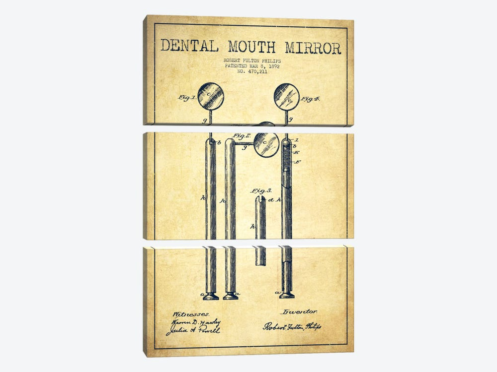 Mouth Mirror Vintage Patent Blueprint by Aged Pixel 3-piece Canvas Art Print