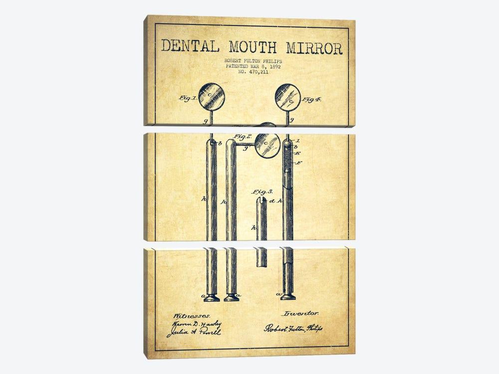 Mouth Mirror Vintage Patent Blueprint by Aged Pixel 3-piece Canvas Art Print