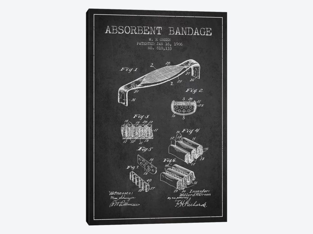 Absorbent Bandage Charcoal Patent Blueprint by Aged Pixel 1-piece Canvas Artwork