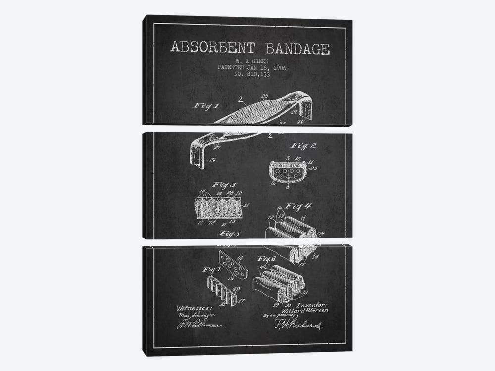 Absorbent Bandage Charcoal Patent Blueprint by Aged Pixel 3-piece Canvas Art