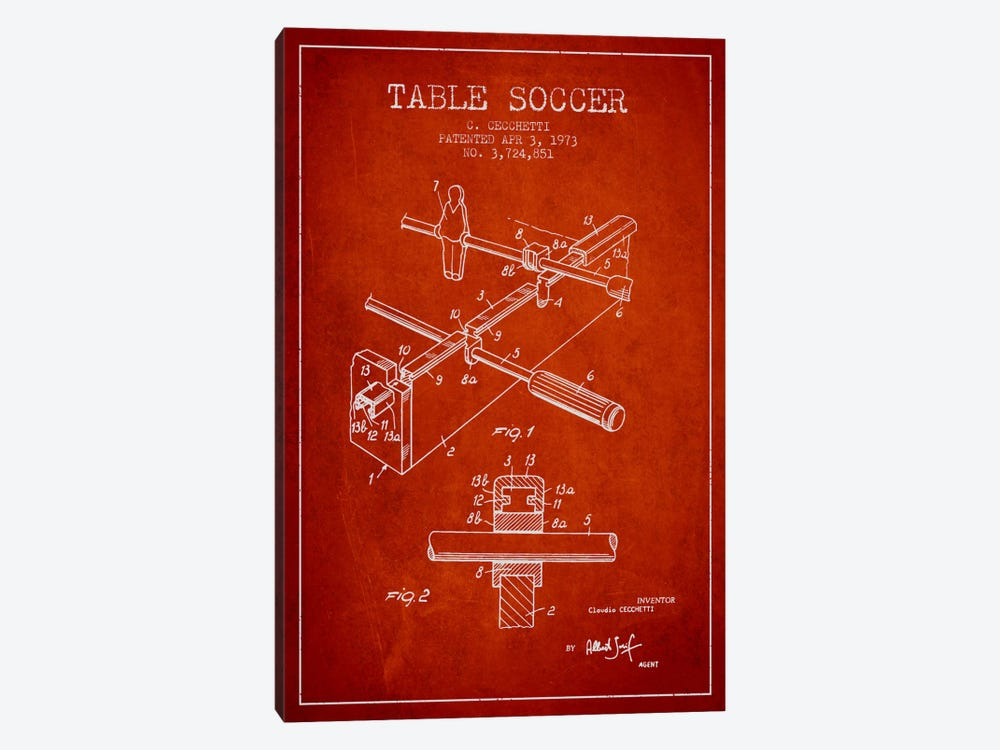 Table Soccer Red Patent Blueprint by Aged Pixel 1-piece Canvas Artwork