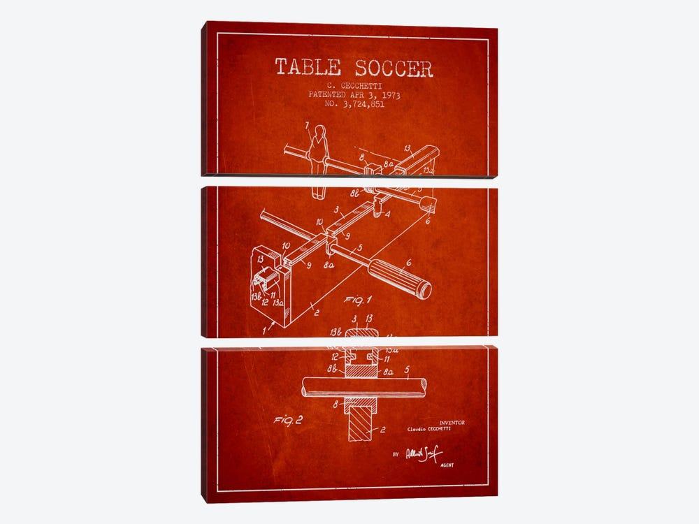 Table Soccer Red Patent Blueprint by Aged Pixel 3-piece Canvas Art