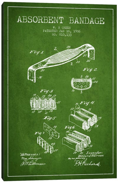Absorbent Bandage Green Patent Blueprint Canvas Art Print