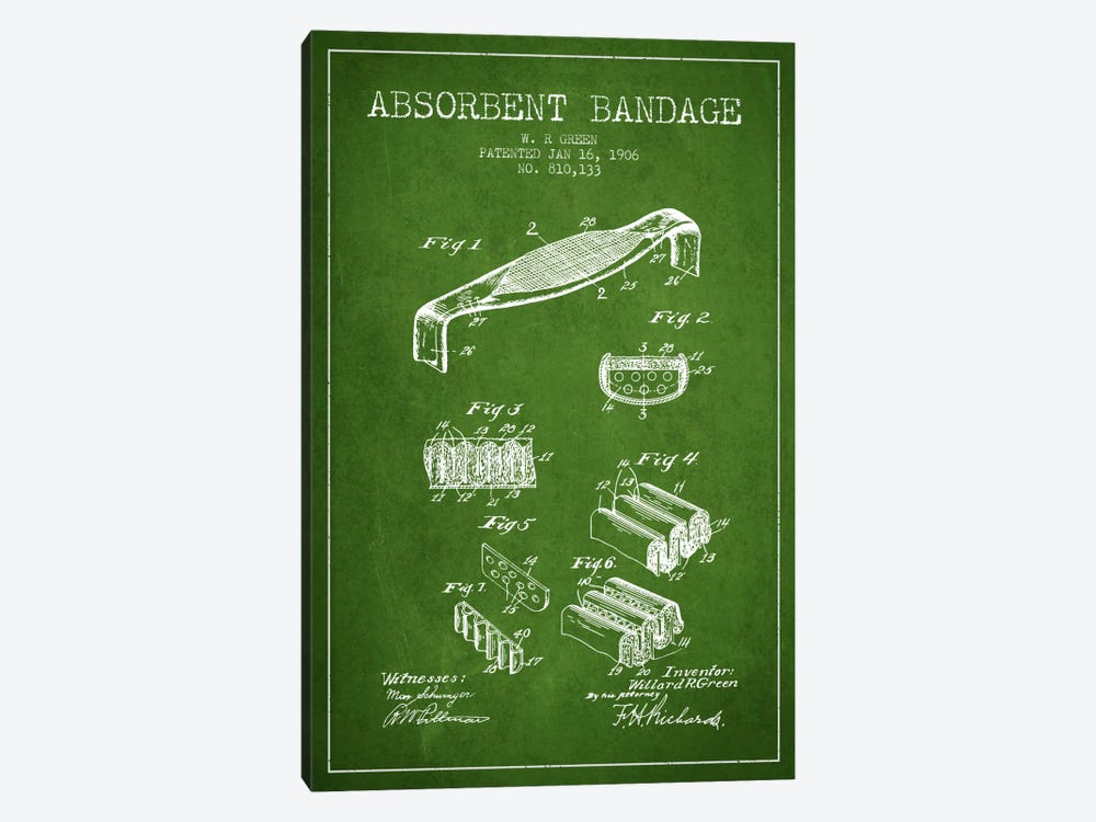 Absorbent Bandage Green Patent Blueprint by Aged Pixel 1-piece Canvas Artwork