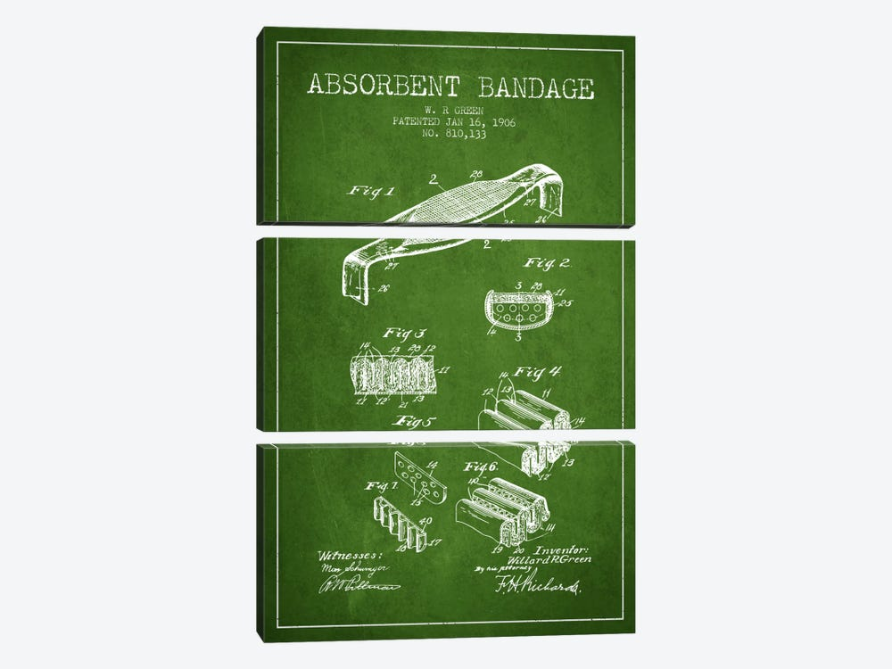Absorbent Bandage Green Patent Blueprint by Aged Pixel 3-piece Canvas Artwork