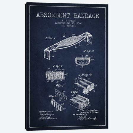 Absorbent Bandage Navy Blue Patent Blueprint Canvas Print #ADP1851} by Aged Pixel Canvas Print