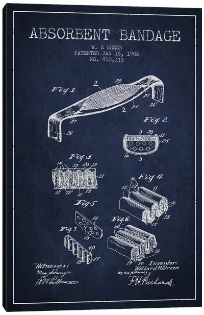 Absorbent Bandage Navy Blue Patent Blueprint Canvas Art Print