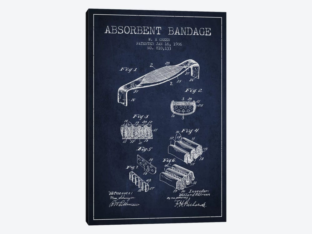 Absorbent Bandage Navy Blue Patent Blueprint by Aged Pixel 1-piece Art Print
