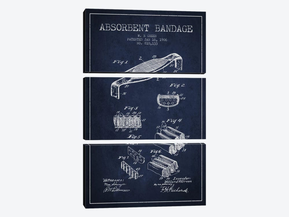 Absorbent Bandage Navy Blue Patent Blueprint by Aged Pixel 3-piece Canvas Art Print
