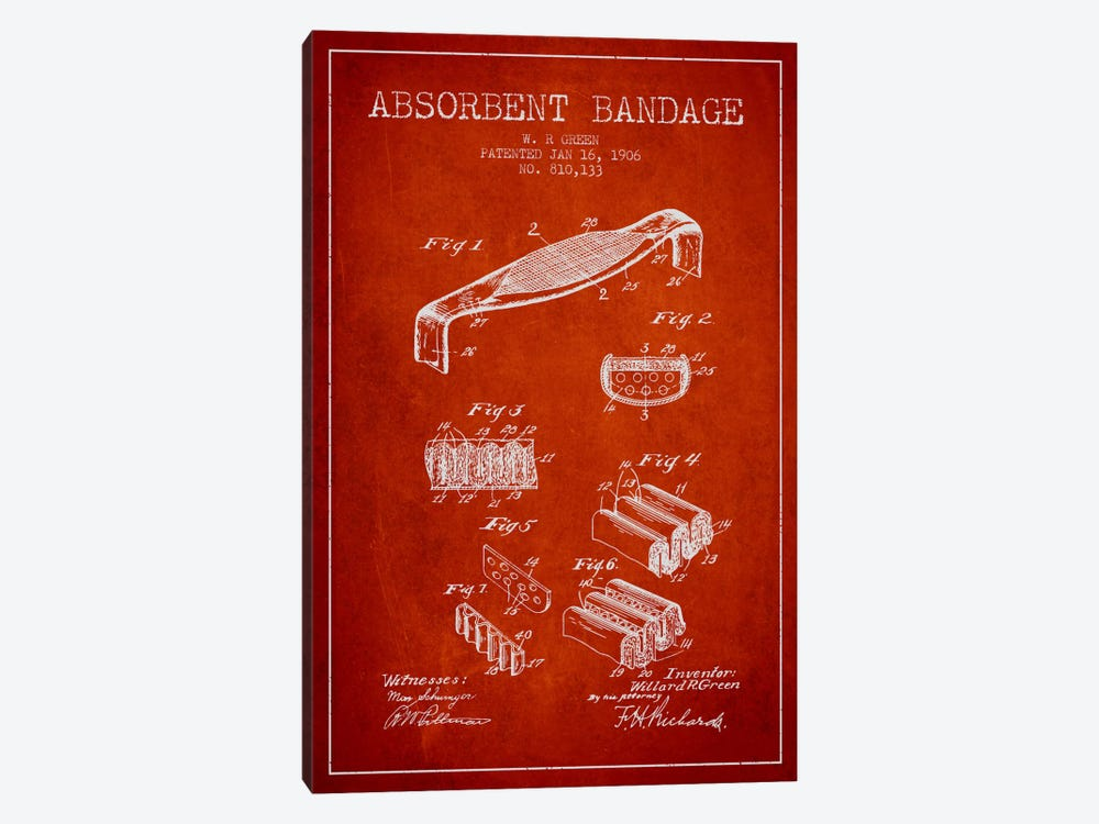Absorbent Bandage Red Patent Blueprint by Aged Pixel 1-piece Canvas Wall Art