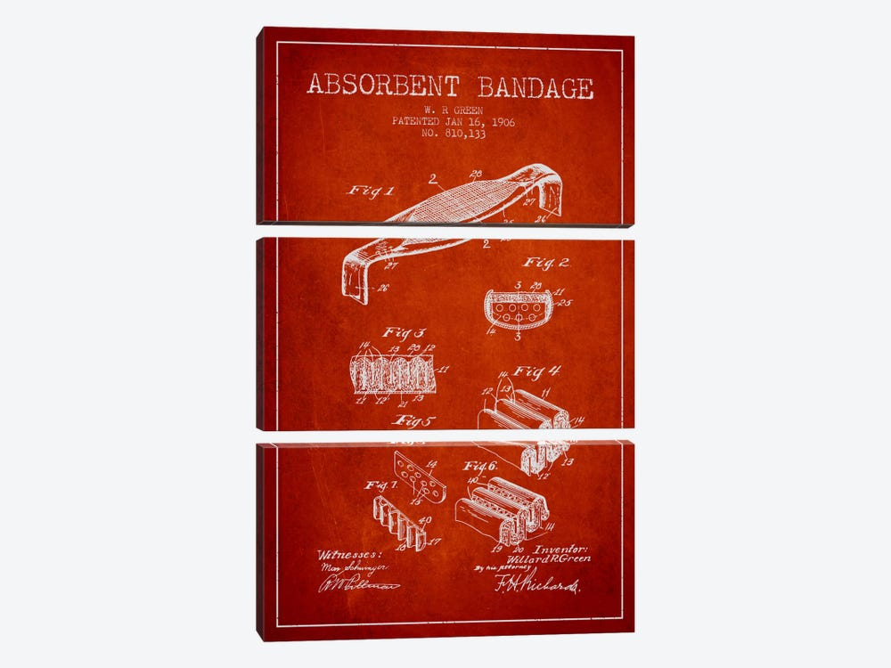 Absorbent Bandage Red Patent Blueprint by Aged Pixel 3-piece Canvas Wall Art