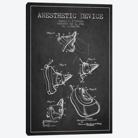 Anesthetic Device Charcoal Patent Blueprint Canvas Print #ADP1854} by Aged Pixel Canvas Art