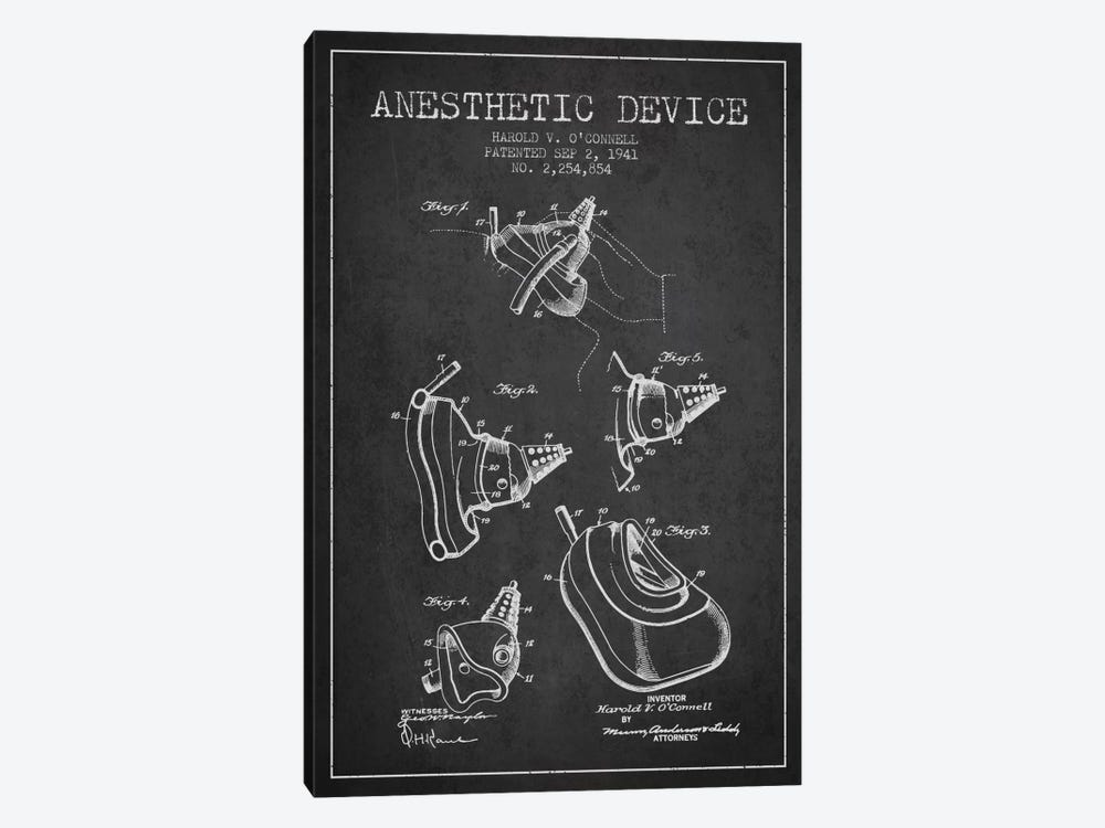 Anesthetic Device Charcoal Patent Blueprint 1-piece Canvas Artwork