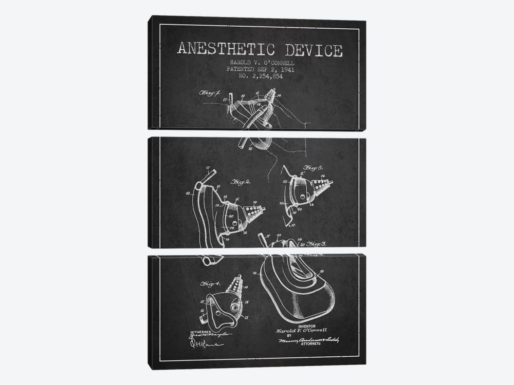 Anesthetic Device Charcoal Patent Blueprint 3-piece Canvas Artwork