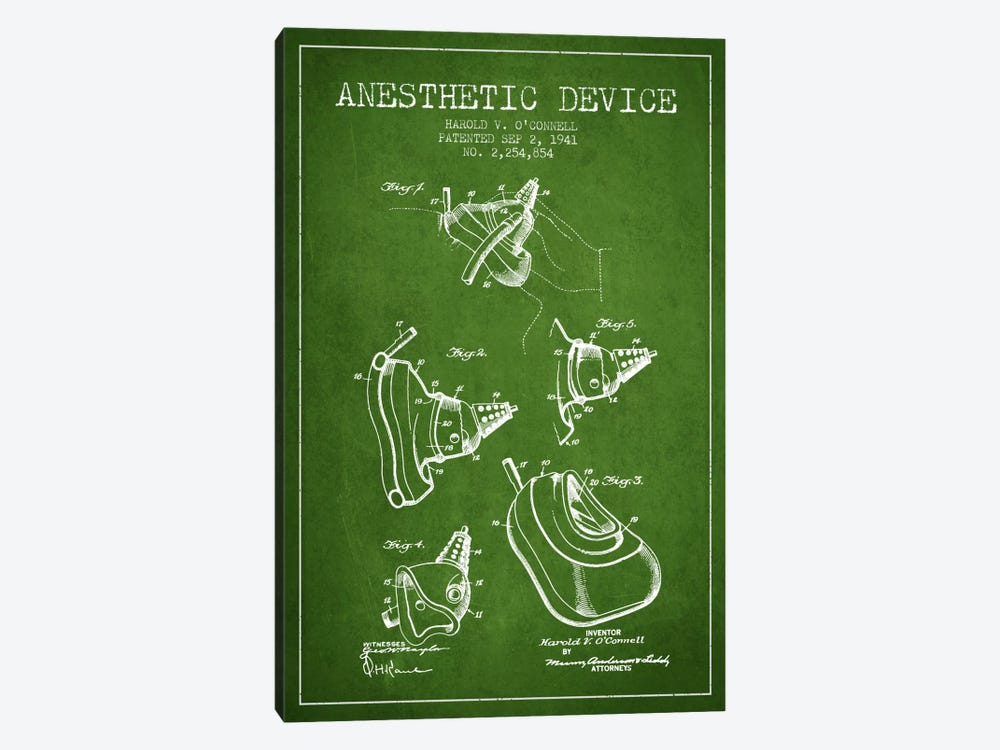 Anesthetic Device Green Patent Blueprint by Aged Pixel 1-piece Canvas Print