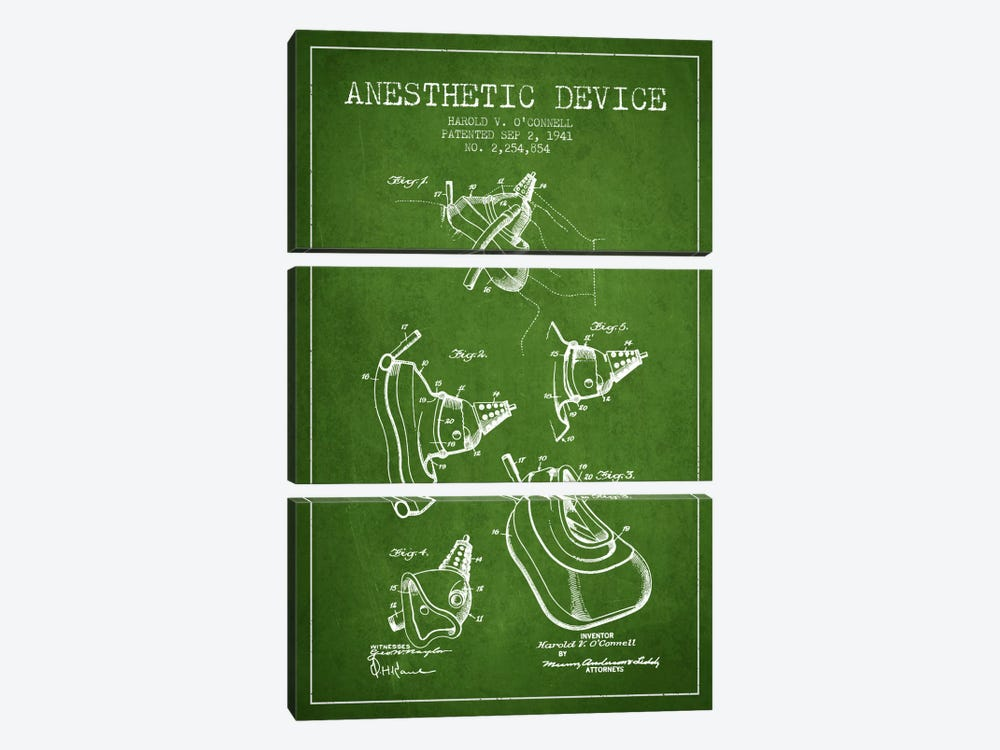 Anesthetic Device Green Patent Blueprint by Aged Pixel 3-piece Canvas Print