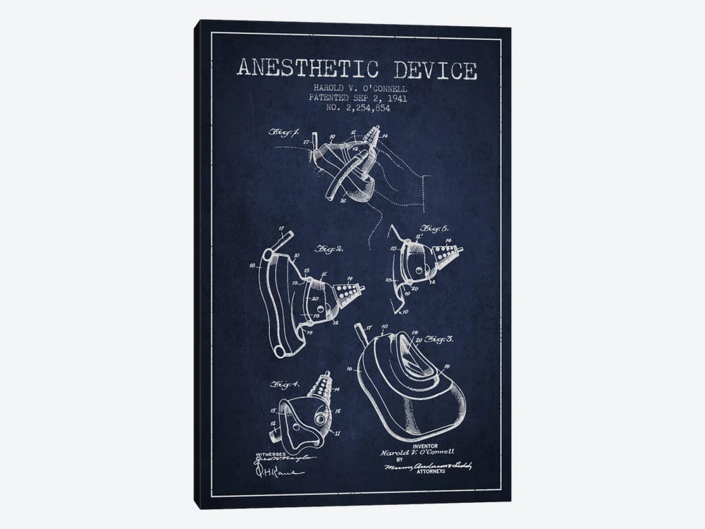 Anesthetic Device Navy Blue Patent Blueprint by Aged Pixel 1-piece Canvas Artwork