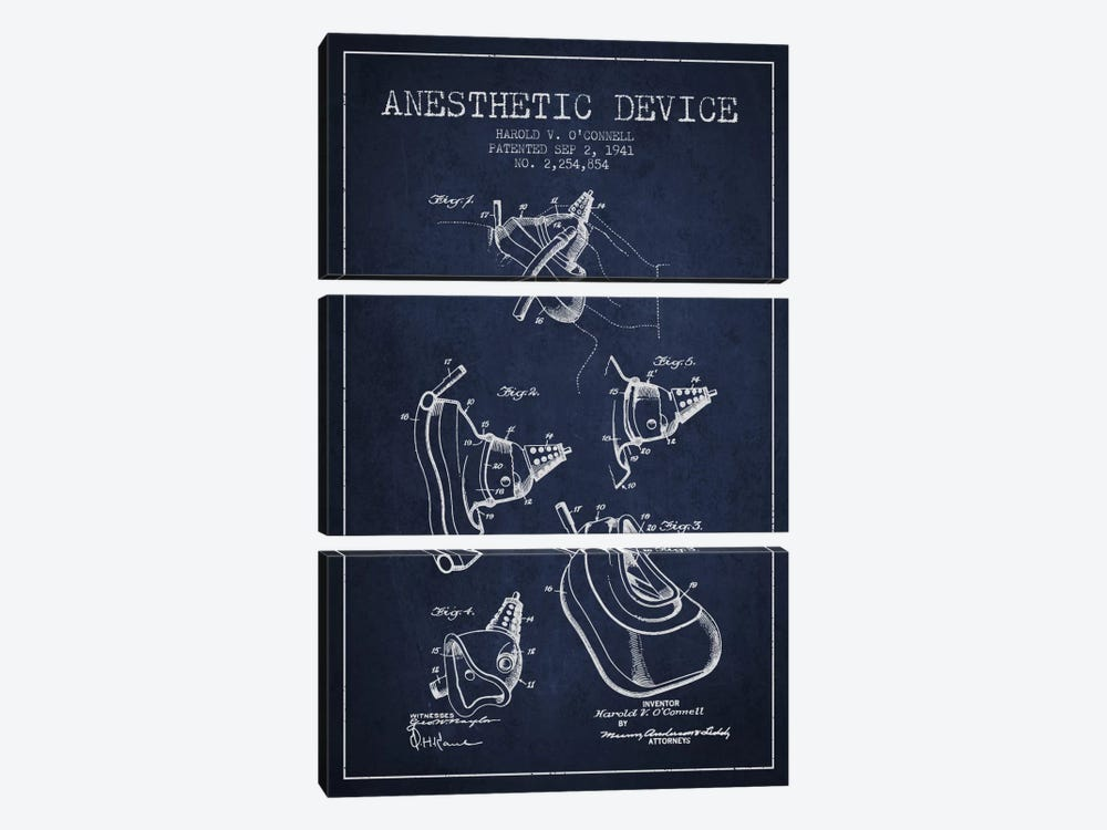 Anesthetic Device Navy Blue Patent Blueprint by Aged Pixel 3-piece Canvas Artwork
