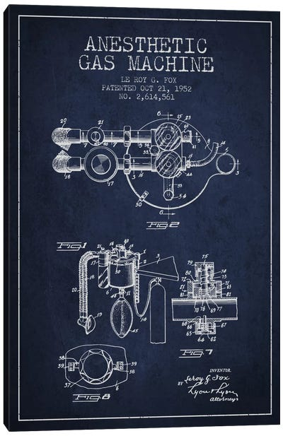 Anesthetic Gas Navy Blue Patent Blueprint Canvas Print #ADP1857