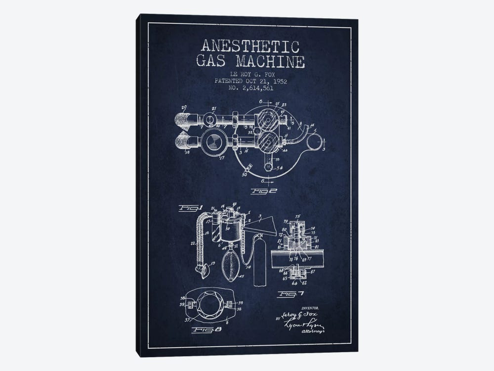 Anesthetic Gas Navy Blue Patent Blueprint by Aged Pixel 1-piece Canvas Art Print