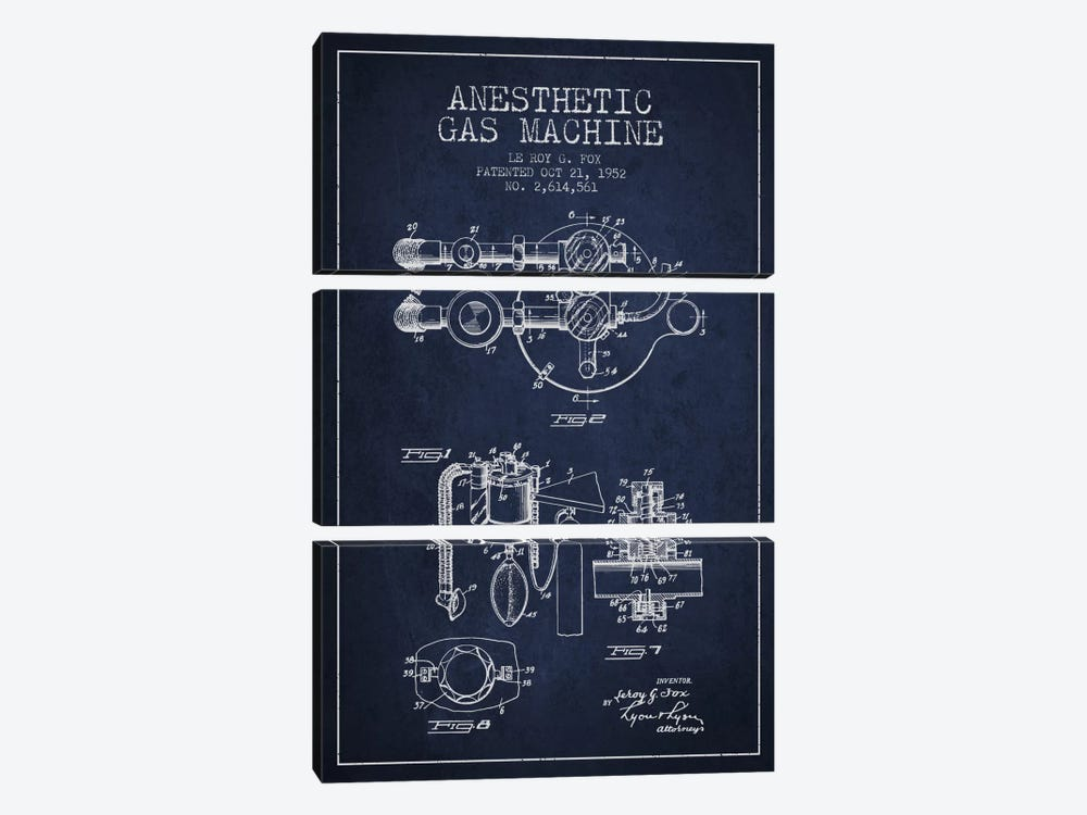 Anesthetic Gas Navy Blue Patent Blueprint by Aged Pixel 3-piece Canvas Print