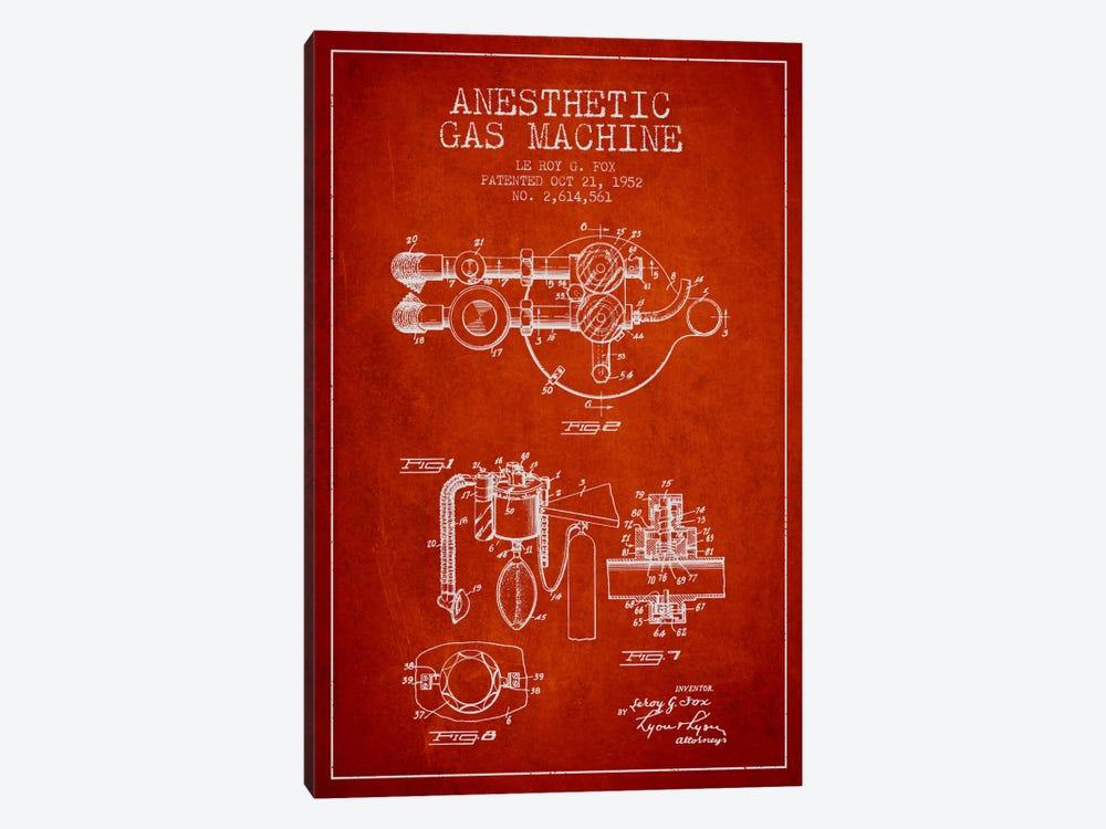 Anesthetic Gas Red Patent Blueprint by Aged Pixel 1-piece Canvas Art