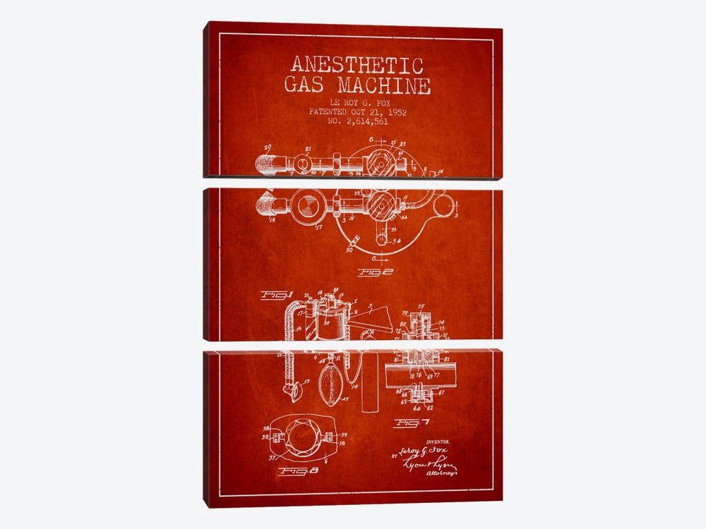 Anesthetic Gas Red Patent Blueprint by Aged Pixel 3-piece Canvas Art
