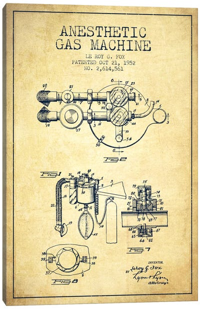 Anesthetic Gas Vintage Patent Blueprint Canvas Art Print