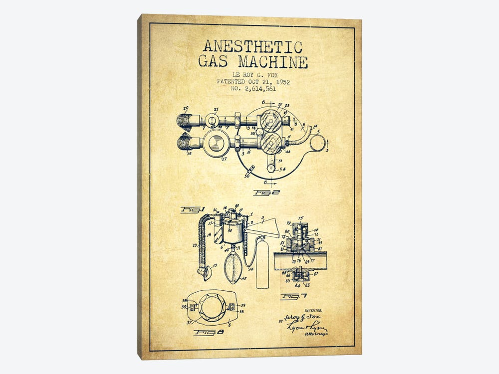 Anesthetic Gas Vintage Patent Blueprint by Aged Pixel 1-piece Canvas Art Print