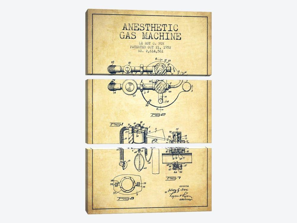 Anesthetic Gas Vintage Patent Blueprint by Aged Pixel 3-piece Canvas Art Print