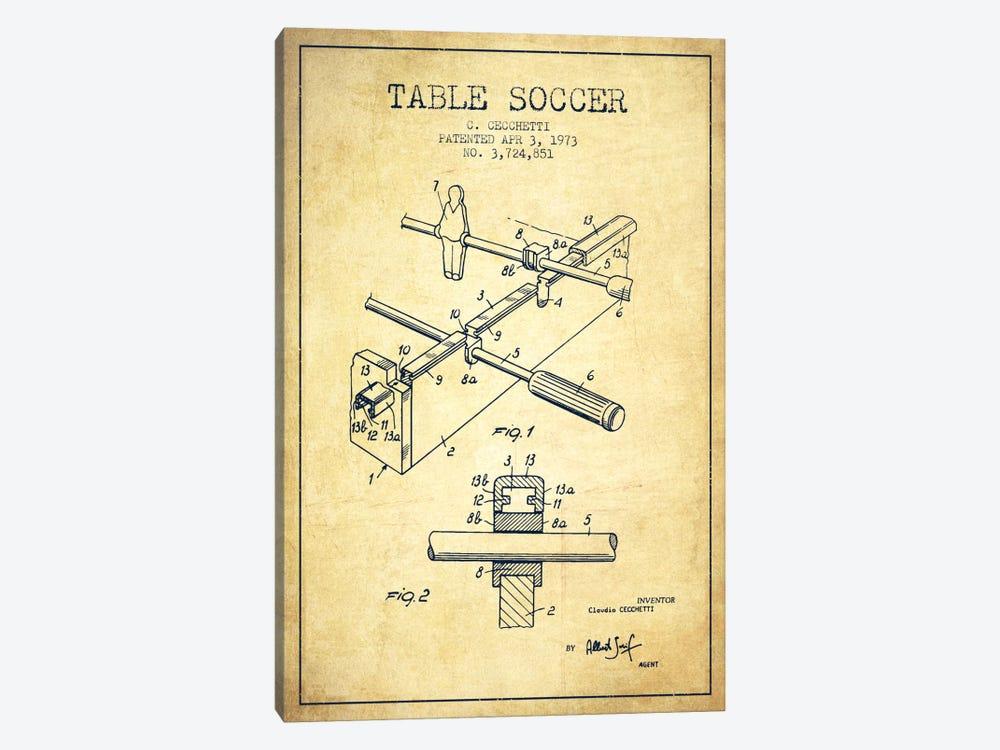 Table Soccer Vintage Patent Blueprint by Aged Pixel 1-piece Canvas Print