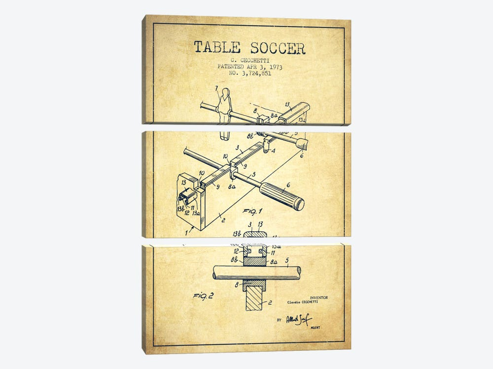 Table Soccer Vintage Patent Blueprint by Aged Pixel 3-piece Canvas Art Print