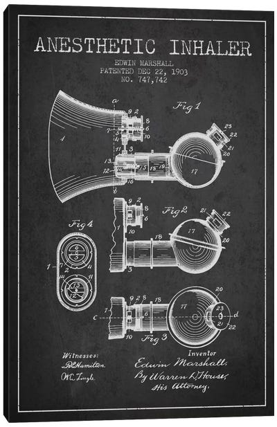 Anesthetic Inhaler Charcoal Patent Blueprint Canvas Art Print