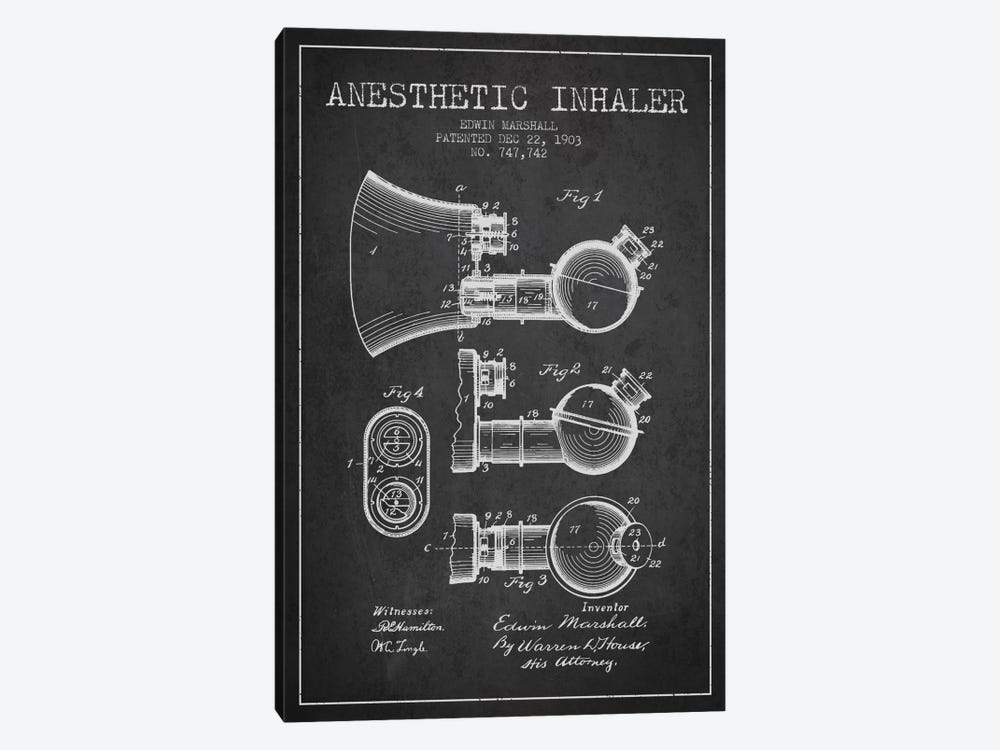 Anesthetic Inhaler Charcoal Patent Blueprint by Aged Pixel 1-piece Art Print