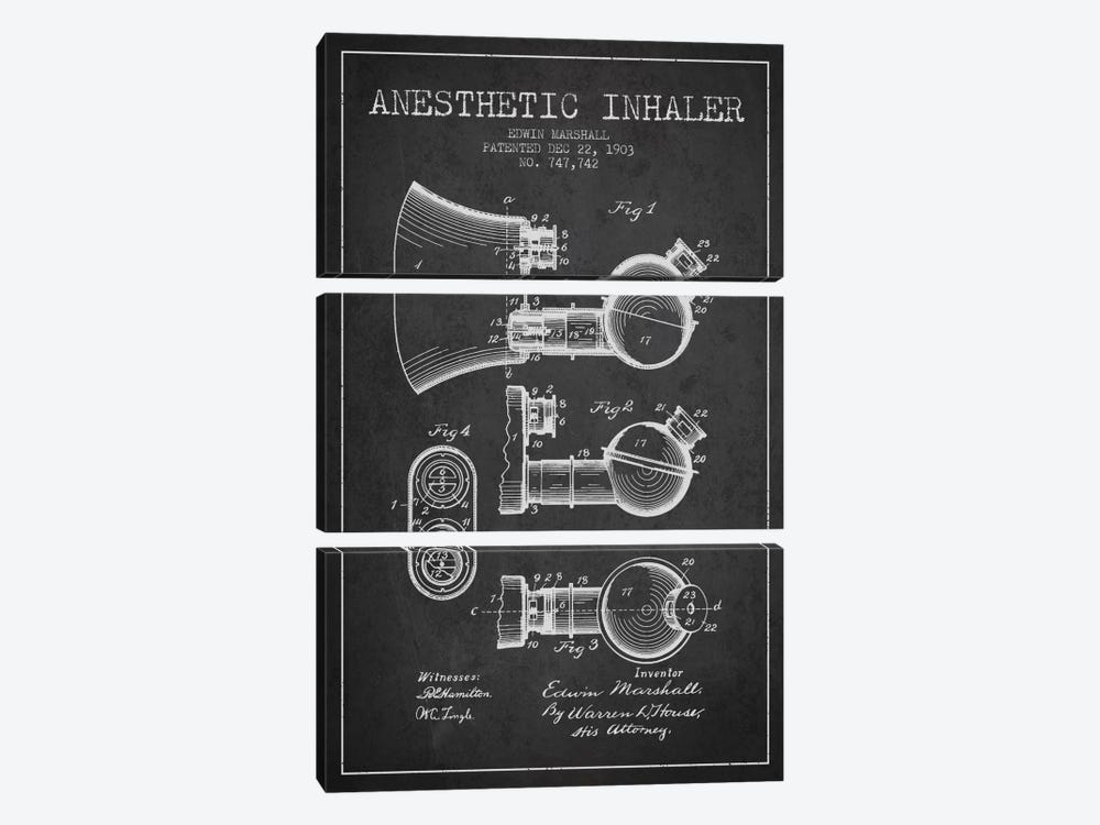 Anesthetic Inhaler Charcoal Patent Blueprint by Aged Pixel 3-piece Canvas Print