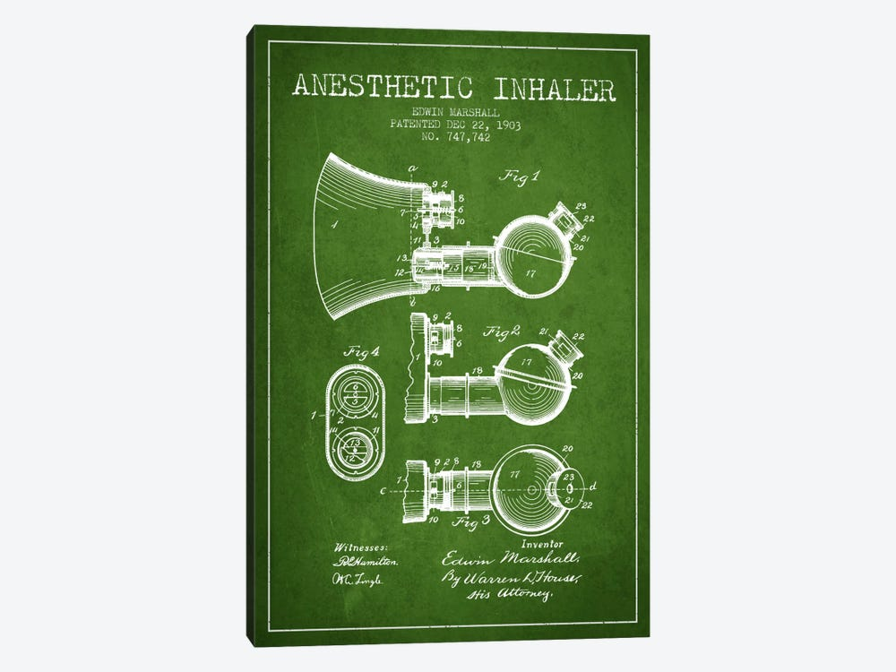 Anesthetic Inhaler Green Patent Blueprint by Aged Pixel 1-piece Canvas Art