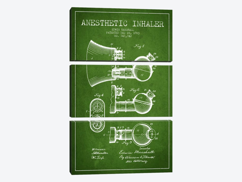 Anesthetic Inhaler Green Patent Blueprint by Aged Pixel 3-piece Canvas Wall Art