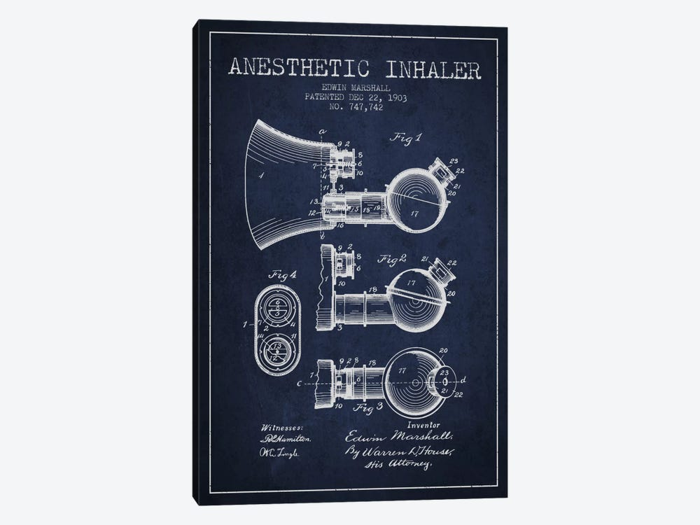 Anesthetic Inhaler Navy Blue Patent Blueprint by Aged Pixel 1-piece Canvas Print