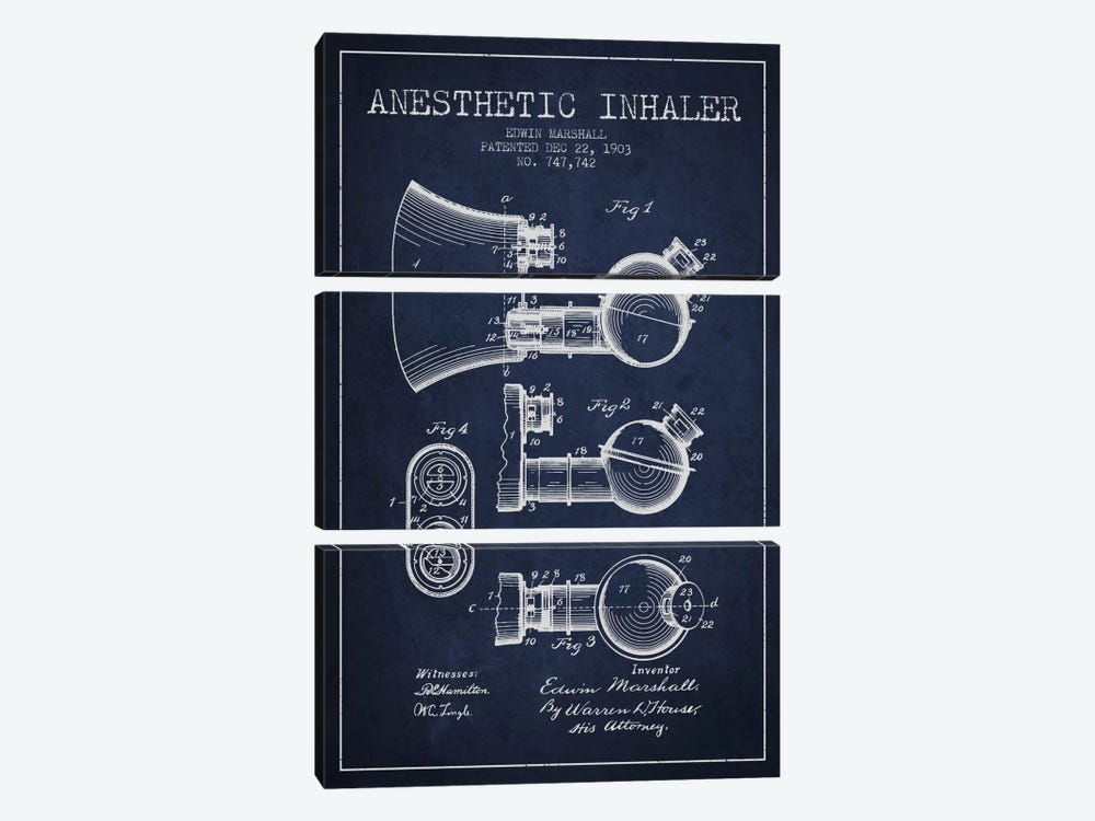 Anesthetic Inhaler Navy Blue Patent Blueprint by Aged Pixel 3-piece Canvas Print