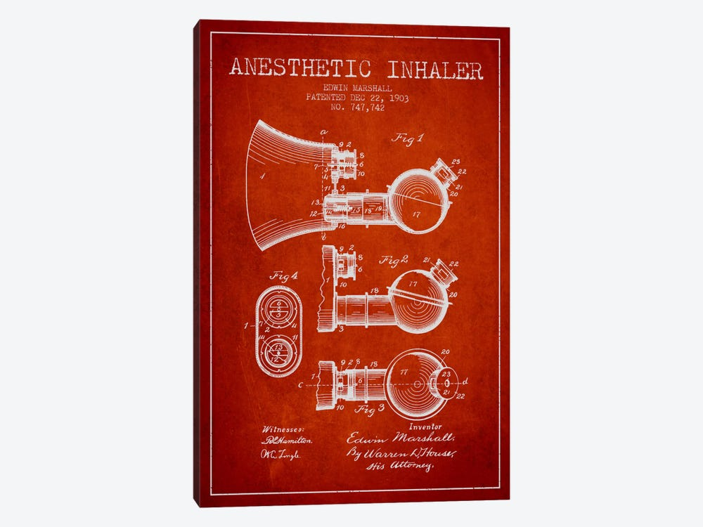 Anesthetic Inhaler Red Patent Blueprint by Aged Pixel 1-piece Canvas Artwork